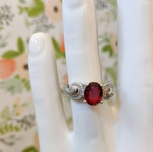 Red Crystal Filigree Swirl Ring - Size 6.5